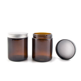 1 - 8 Oz Amber Glass Jars , Round Amber Glass Cosmetic Jars With Metal / Plastic Caps