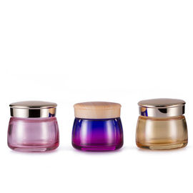 Fashion Glass Cream Jars 100ml 3OZ Flat Round Skin Care Body Face Containers